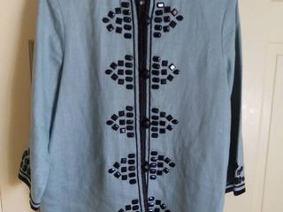 linea by louis Dell Olio linen Jacket With Beads Size large