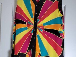 Colorful Sleeveless Bob Mackie Blouse Size l