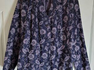 Susan Graver Denim Floral Jacket Size l