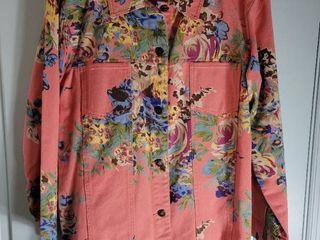 Susan Graver Peach Floral Jean Jacket Size large