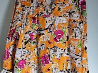 Susan Graver Orange Pink Italian Scenery Jacket Size l