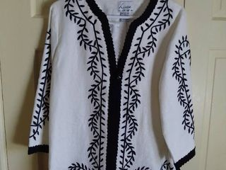 linea by louis Dell Olio Black and White Embroidered Top