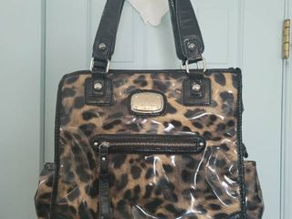 Gently Used Vinyl leopard Womans Purse