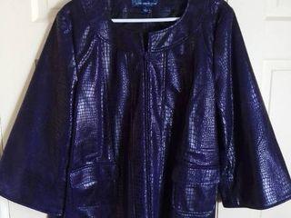 Susan Graver Style Purple Faux Animal Hide Jacket Size large