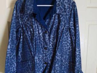 Susan Graver Style Blue leopard Print Jacket Size large