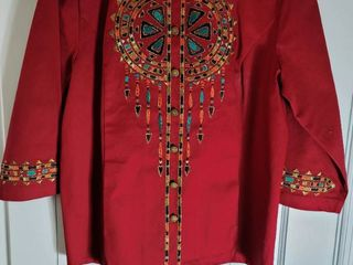 Bob Mackie Burgundy Embroidered Blouse Size l