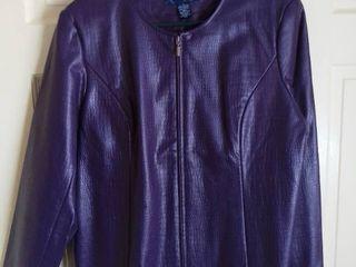 Susan Graver Style Purple Faux Reptile Skin Jacket Size large