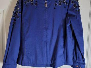 Royal Blue Jeweled Bob Mackie Zip Up Jacket Size l