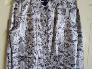 Susan Graver Style Faux Reptile Skin Jacket Size large