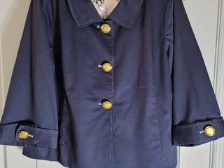 Bob Mackie large Navy Blue Womans Coat with Gold Tone Buttons
