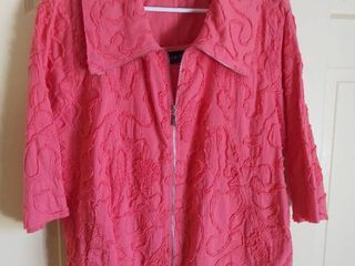 Susan Graver Style Pink Cotton Jacket and Tank Top Size large