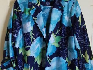 Susan Graver Style Blue Floral Polyester Jacket with Matching Shirt Size large