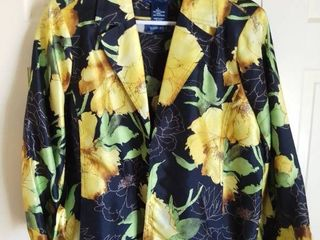 Susan Graver Style Yellow and Black Floral Polyester Jacket with Matching Shirt Size large