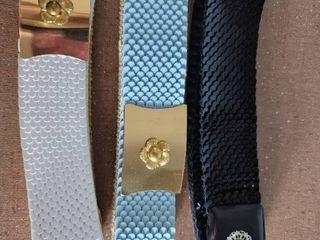 lot of 3 Vintage Elastic Womans Belt   Flower Clip