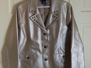 Susan Graver Style Shiny Jacket With Studs Size large