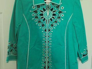 Bob Mackie Teal Embroidered Zip Up Jacket Size l with Undershirt