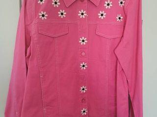 Bob Mackie Pink Daisy Button Up Jacket