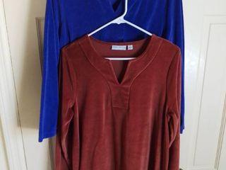 2 Susan Graver Soft Cotton Blend long Sleeve Shirts Size Medium