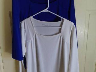 2 Susan Graver Essentials Polyester long Sleeve Shirts Size Medium
