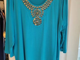 Susan graver style teal blouse silk smooth extra large