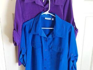 2 Susan Graver Polyester Rolled Sleeve Shirts Size Medium