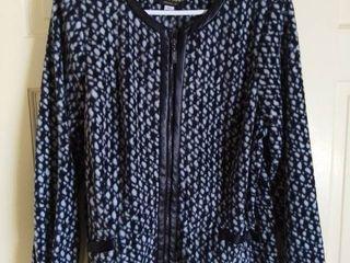 Bob Mackie Soft Polyester Jacket with Faux leather Trim Size Medium