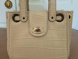 Beige Womans Handbag with Turn Claspe