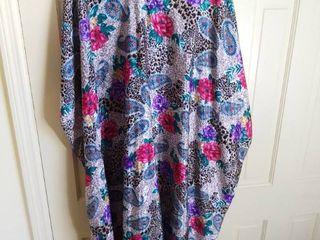 Shiny Floral Mumu House Coat large X large No Tag
