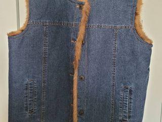 Denim Reversible Fur Vest Size l