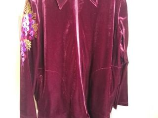 Bob Mackie Polyester Embroidered Track Suit Maroon Top Black Pants