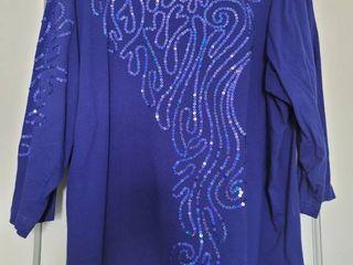 Royal Blue Bob Mackie Sequins Blouse Size Xl