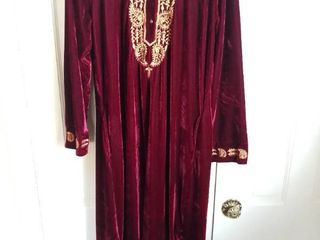 la Cera Maroon with Gold Embroidery Velour Caftan House Dress