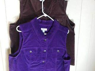 2 Denim and Co  Corduroy Vests Brown And Purple Size Xl
