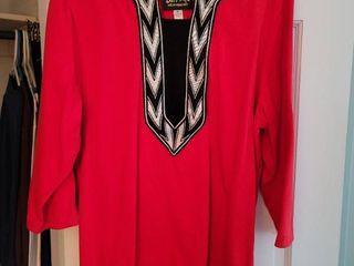 Red  Black Bob Mackie Size Xl Womans Blouse