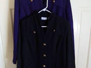 2 Joan Rivers Cotton Poly Jackets Size Medium Black and Purple