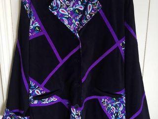 Koos of Course Black with Purple Paisley Design Jacket Size large Reversible