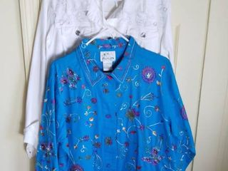 2 Quacker Factory Jackets Size large  White and Blue with Butterflies