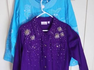 2 Quacker Factory Jackets Size large  Purple Beaded and Blue Stitched