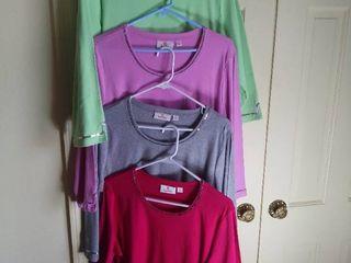 4 Quacker Factory long Sleeved Shirts Size large