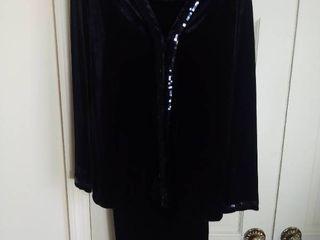 Black 3 Piece Quacker Factory Velour Pants Suit Size large
