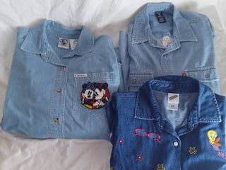3 long Sleeved Denim Shirts 1 Mickey Mouse 2 looney Toons Size large