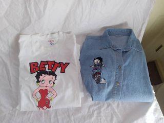Xl Betty Boop T Shirt and Denim long Sleeved Shirt