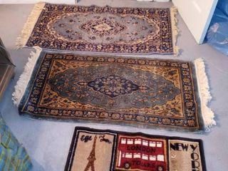 lot Of 3 Small Vintage Floor Area Rugs
