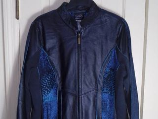 Koos of Course leather Jacket with Blue Animal Print Size large