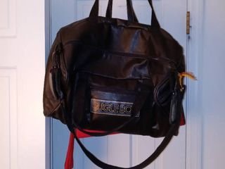 lot Of 2 Travel Bags Vintage leather Bugle Boy Duffel And ladies Red Bag