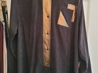 Bob Mackie Bronze  Black Suede Pull Over Size large