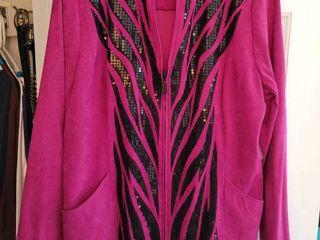 Magenta Black Sequins Zip Up Jacket Size large