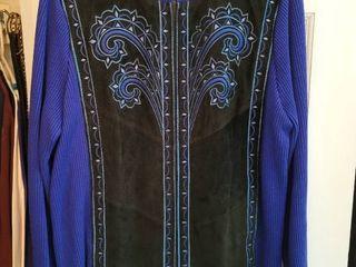 Royal Blue and leather Bob Mackie Zip Up Jacket Size large