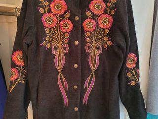 Bob Mackie Black Embroidered Womans Coat Size Medium