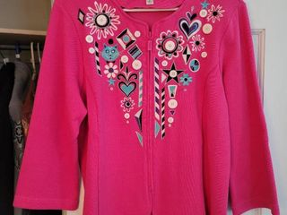 Pink Bob Mackie Kitty Kat Size large Zip Up Jacket